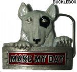 Make my Day English Bull Terrier Belt Buckle + display stand. Product code AE4